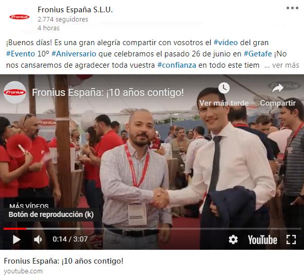Salvador Escoda estuvo presente en el 10 aniversario de Fronius España
